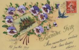 Très Belle Carte Celluloid Faite Main. Hand Painted . Pensées . Fleurs Et Chateau Magdeleine Labadie. Colombophilie - Ansichtskarten