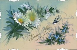 Très Belle Carte Celluloid Faite Main. Hand Painted . Marguerite Myosotis . Hirondelle - Ansichtskarten