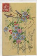 Très Belle Carte Celluloid Faite Main. Hand Painted . Oiseaux Bleuet - Ansichtskarten