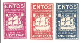 ENTOS 1913 AMSTERDAM. SCHEEPVAART TENTOONSTELLING-EXPO MARITIME-SHIPPING-SCHIFFART. 3x - Oude Documenten