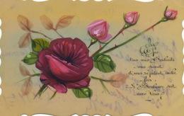 Très Belle Carte Celluloid Faite Main. Hand Painted . Rose - Ansichtskarten