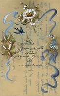 Très Belle Carte Celluloid Faite Main. Hand Painted . Myosotis Hirondelle Marguerite - Ansichtskarten