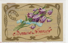 Très Belle Carte Celluloid Hand Made .Art Nouveau Chromo Fer A Cheval Vers Barthelemy Coiffeur St Martin De Cau 13 - Ansichtskarten