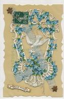 Très Belle Carte Celluloid Hand Made .Chromo Myosotis Colombe Soie . Silk. Envoi à Collier Par Muides 41 - Ansichtskarten