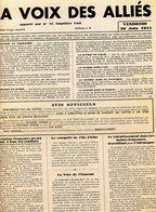 DOUVRES LA DELIVRANDE  GUERRE 39/45  LA VOIX DES ALLIES 29/30/JUIN1944 IMPRIMERIE GAZEAU - Journaux - Quotidiens