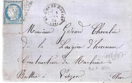 Nièvre :-  MOULINS-ENGILBERT G.C.2563 Dateur Type 16 Au Dos BUREAU DE PASSE 2654 - 1849-1876: Période Classique