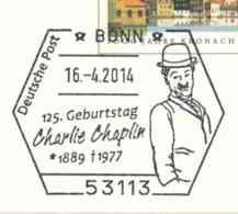 6200  Charlie Chaplin: Oblit. Temp. D'Allemagne, 2014 -  Cinema, Film  Special Cancel From Bonn, Germany - Cinéma