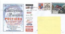 """Lettre  """" 35° Salon National De POITIERS ( 86 )     - Avec Timbres  N° 735 - 959 - 1494 - Francia"""