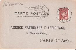 Vendée :-  REAUMUR Dateur Type F4 Sur Attestation D'affichage - Marcophilie (Lettres)