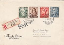 Suisse Lettre Recommandée Censurée St Gallen Pour L'Allemagne 1943 - Storia Postale