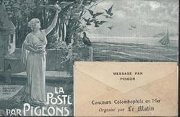 CP La Poste Par Pigeons Concours Colombophile En Mer Organisé Par Le Matin Journal YT 130 Perforé M13 - Marcofilia (sobres)