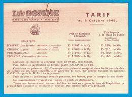1949 TARIF FILATURE DE LA SOMME RUE GUERARD AMIENS MARQUE DEPOSEE LAINES CLIPPER - Publicités