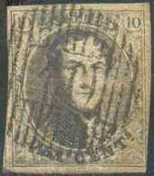 N°6 - Médaillon 10 Centimes Brun, Margé, Obl. D.40 NIL-Saint-VINCENT Idéalement Apposée. - TB - 15063 - 1851-1857 Medaillen (6/8)
