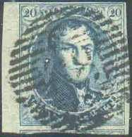 N°7 - Médaillon 20 Centimes Bleu, TB Margé Et Bdf Gauche, Oblitération P.88 NINOVE Centrale. Belle Fraîcheur. - TB - 150 - 1851-1857 Medaillen (6/8)