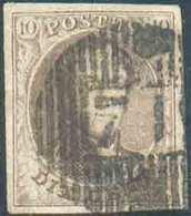 N°10 - Médaillon 10 Centimes Brun, Margé Et Belle Obl. D.71 ENGIS Idéalement Apposée. - TB - 15067 - 1858-1862 Medaillen (9/12)