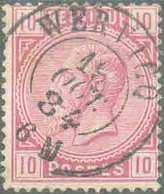 N°38 - 10 Centimes Rose, Obl. Dc WERVICQ 19 OCT. 84 Idéalement Apposée. R. - TTB - 15070 - 1883 Léopold II