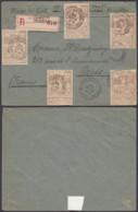 BELGIQUE COB 72 X5 SUR LETTRE RECO DE St GILLES-BRUX (CH.CHARLEROI) 28/10/1896 VERS PARIS (DD) DC-6413 - 1894-1896 Tentoonstellingen