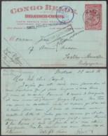 """CONGO EP 10c """"CARTE POSTALE IMCOMPLETE"""" DE MATADI 28/08/1916 VERS IXELLES """"RETOUR A L ENVOYEUR"""" (DD) DC-6409 - Entiers Postaux"""