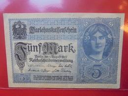Darlehnskassenschein :5 MARK 1917 CIRCULER BELLE QUALITE (B.5) - [ 2] 1871-1918 : Empire Allemand