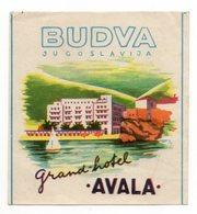 YUGOSLAVIA, MONTENEGRO, BUDVA, GRAND HOTEL AVALA, LUGGAGE BADGE, HOTEL LABEL - Hotel Labels