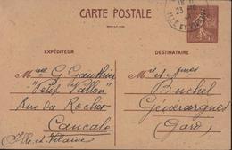 Guerre 39 45 Libération Ouest France Storch E1 Entier Semeuse Lignée 1,2 Brun Poiçon Local Imprimerie Oberthur Rennes - Guerra De 1939-45