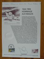 Document Officiel FDC 94-547 Hommage Au Maquis Glières Thones 74 Haute Savoie 1994 - Guerre Mondiale (Seconde)