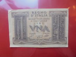 ITALIE 1 LIRA 1939 CIRCULER (B.5) - [ 1] …-1946 : Royaume