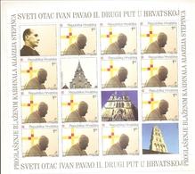 CROATIA 1998,SECOND VISIT PAPA JOHN PAUL II,SHEET,VIGNETTE,MNH - Croatia