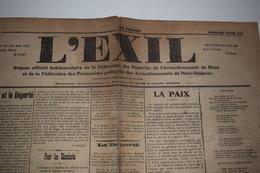 L'exil 29 Juin 1919 Mons Le Soldat Et Le Déporté, Pour Les Cheminots, La Paix, L'Exode Des Chômeurs Belges En Allemagne - Journaux - Quotidiens