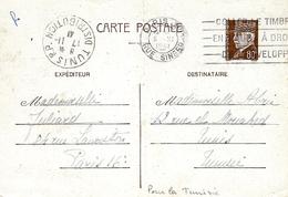 1941- C P E P Pétain 80 C De Paris Pour Tunis ( Tunisie ) - Marcophilie (Lettres)