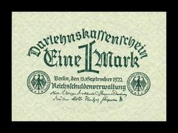 Alemania Germany 1 Mark 1922 Pick 61a SC UNC - [ 3] 1918-1933 : República De Weimar