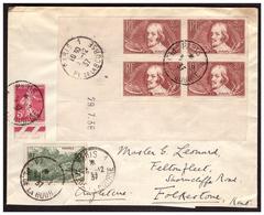 N°330 En Bloc De 4 Coin Daté + 358 Et278B Sur Lettre  De PARIS PourFOLKESTONE ( ANGLETERRE ) Du3.12.37. - France