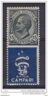 REGNO:  1924/25  PUBBLICITARI  -  15 C. BITTER  CAMPARI  N. -  SASS. 1 - Publicity