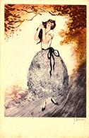 ART DÉCO : JEUNE FEMME Et CHAT NOIR / YOUNG LADY With CAT - ARTIST SIGNED / ILLUSTRATION : HARDY ~ 1920 - '930 (ad674) - Künstlerkarten