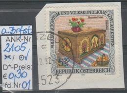 """18.9.1992 -  SM Aus Satz  """"Volksbrauchtum .....(Bauerntruhe)"""" -  O  Gestempelt - Siehe Scan  (2105o 01-04) - 1991-00 Usados"""