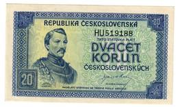 CZECHOSLOVAKIA20KORUN1945P61UNC.CV. - Cecoslovacchia