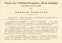 Programme Saison 1938 Cercle Des Amitiés Françaises De La Louvière Conférence De La Varende Poulenc Octave Aubry .... - Programme