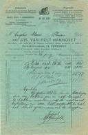 Factuur 1915 Jos Van Pelt - Hannoset Turnhout In De Kat Herenthalsstraat 12 - 1900 – 1949