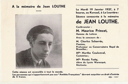 Programme La Louvière Souvenir De Jean Louthe Compositeur Musique D'houdeng Aimeries Cercle Des Amitiès Françaises - Programmes