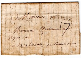 Marque Postale De POITIERS Sur Lettre Destination ALIXAN (Drôme) - 1768 - 1701-1800: Precursores XVIII