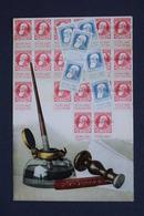 OLD POSTCARD -BELGIUM - TIMBES - POSTE - POST STAMPS - BRIEFMARKEN , SCHREIBFEDER - 1906 - Briefmarken (Abbildungen)