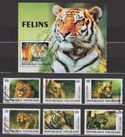 Lions Tigers Togo S/S+6 Stamps 2000 - Roofkatten