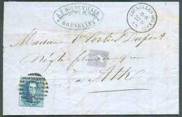 N°15 - Médaillon 20 Centimes Bleu, Obl. à 8 Barres OUEST Sur Lettre De BRUXELLES (OUEST) Le 22-5-1863 Vers Ath. TB Frapp - 1863-1864 Medaillen (13/16)