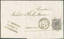 N°17Aa - 10 Centimes Gris-noir, Dt.15, Obl. LP.77 Sur Lettre De CHARLEROY P.P. Le 16-3-1869 Vers Namur. Emploi Rare Du C - 1865-1866 Profil Gauche