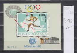 36K38 / 1972 Michel Nr. 93 - SPORT Olympic Games Munchen S/s  MNH ** TORCH STADIUM Romania Rumanien - Blocchi & Foglietti