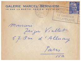 1952 - Lettre à Entête - Paris (8ème) - Galerie Marcel Berheim Au 35 Rue De La Boëtie - FRANCO DE PORT - France