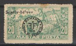 Hungary - DEBRECEN 1919. (Romania Occupation) Occupation Stamp 20 Filler AID Stamp MH (*) Yelow Paper! - Emissions Locales