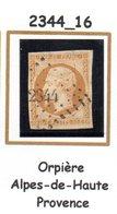 Franc : Petit Chiffre N° 2344 : Orpière ( Alpes De Haute-Provence ) Indice 16 - Marcophilie (Timbres Détachés)