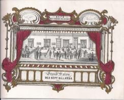 "BRUXELLES-BRUSSEL""CAFE TROIS SUISSES-GRAND SALON DES SEPT BILLARDS -1858""LITH.CARBOTE FR.-225/170MM - Porseleinkaarten"