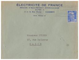 1953 - Lettre à Entête - Chambéry (Savoie) - EDF équipement Hydrolique Au 3 Et 5 Rue Ronde - FRANCO DE PORT - Francia